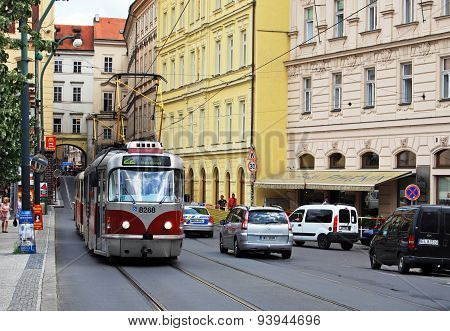 Tram in city centre, Prague.