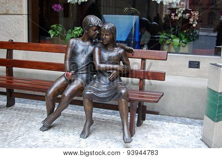 Secret Bench statue, Prague.