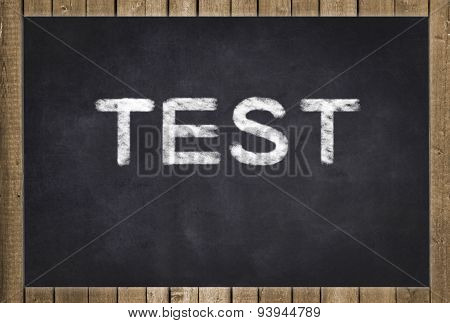 test - text on chalkboard