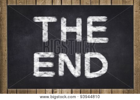the end - text on chalkboard
