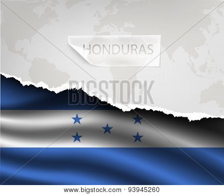 Paper With Hole And Shadows Honduras Flag