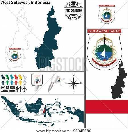 Map Of West Sulawesi, Indonesia