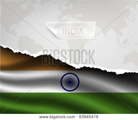 Paper With Hole And Shadows India Flag