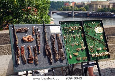 Souvenirs on Charles Bridge, Prague.