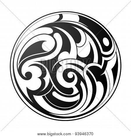 Maori round tattoo