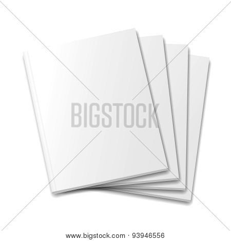 Blank covers mockup magazine template on white background Vector illustration.