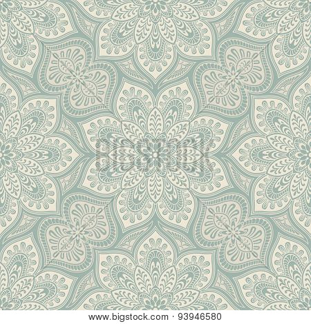 Mandala geometric pattern, blue and beige