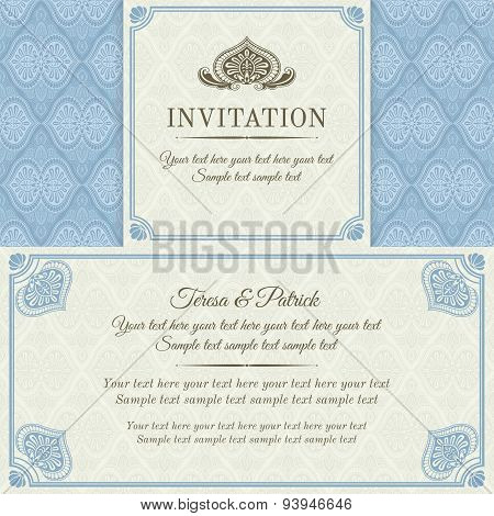 Baroque invitation, gold, blue and beige