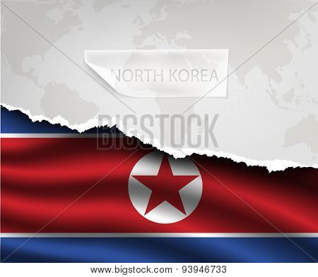 Torn Paper With Hole North Korea Flag