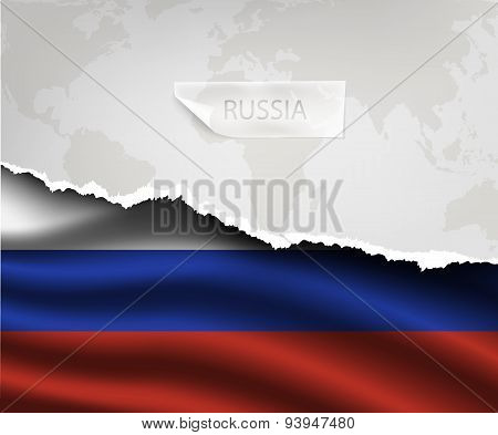 paper with hole and shadows RUSSIA flag