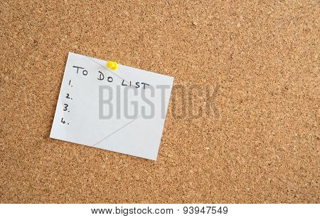White Paper On A Cork Board