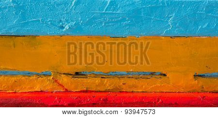 Wooden  Background With Blue, Orange And Red Colors.