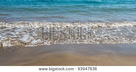 Seashore Wave With Sandy Beach  Background
