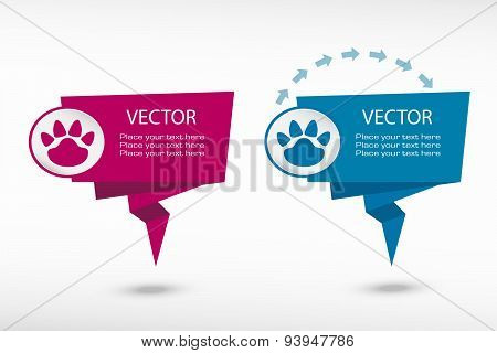 Paw On Origami Paper Speech Bubble Or Web Banner, Prints