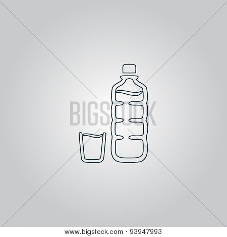 Plastic bottle and glass