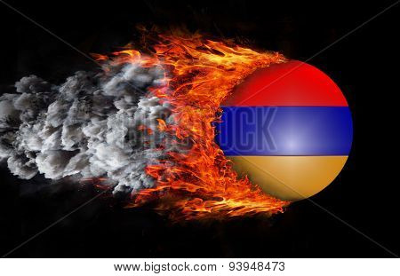Flag With A Trail Of Fire And Smoke - Armenia