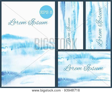 Set of business cards or invitation with watercolor background.