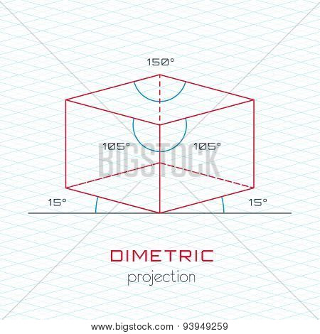 Frame Object In Axonometric Perspective - Dimetric Grid Template