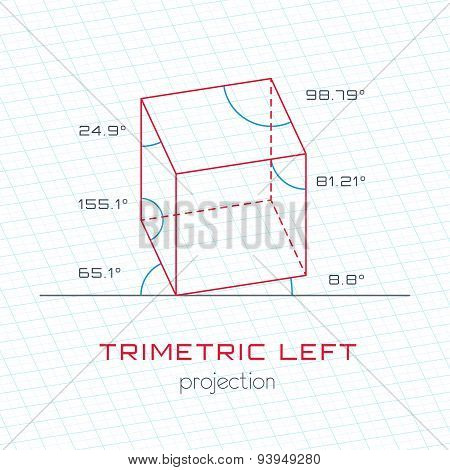Frame Object In Axonometric Perspective - Trimetric Left Grid Template