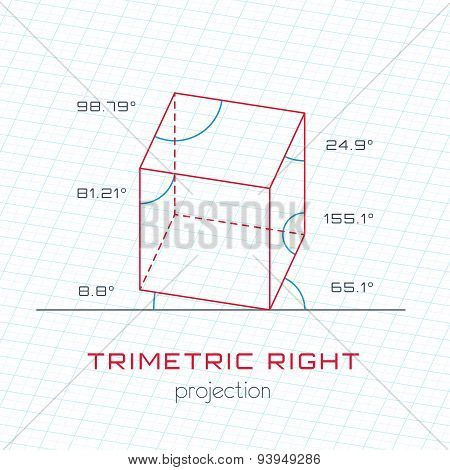 Frame Object In Axonometric Perspective - Trimetric Right Template