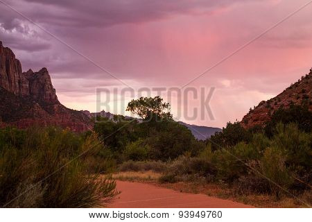 Riverside walk with sunset in Zion Canyon National Park