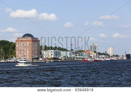 Elbe Shore And Skyline In Hamburg, Germany, Editorial