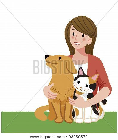 A Woman Looking Up With Furry Friends
