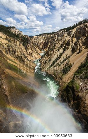 View from Lower Falls with a rainbow in Yellowstone National Park, USA