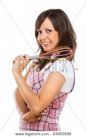 Young Woman Holding Egg Beater