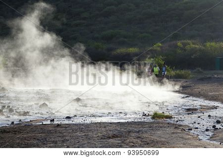 Steaming Water At Lake Bogoria, Kenya