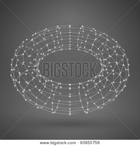 Wireframe Polygonal Element. 3D Torus With Lines And Dots