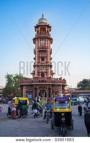 JODHPUR, INDIA - 11 FEBRUARY 2015: Ghanta Ghar also known as clock tower, on Sardar Market with traffic.