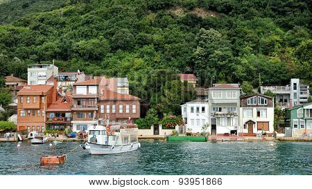 Houses at the coastline of Anadolu Kavagi,Istanbul, Turkey