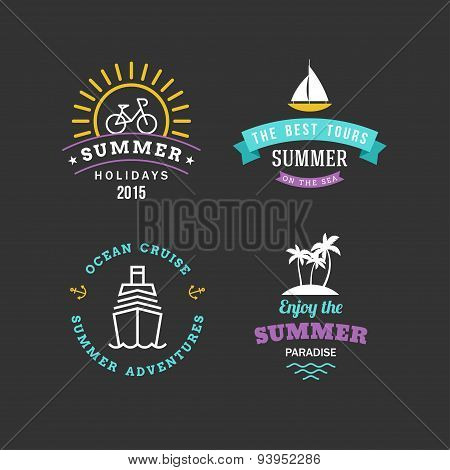Set Of Retro Summer Holidays Hipster Labels. Line Art Vector Design Elements