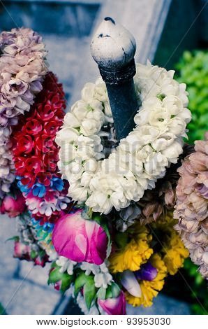 Thai garland of colorful flowers