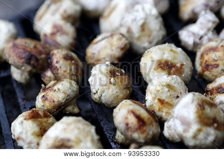 Champignons On The Barbecue Grill