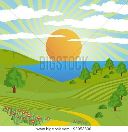 Abstract illustration of a nature landscape with lake, sun, and tree.