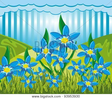Illustration of a abstract nature landscape with scilla bifolia