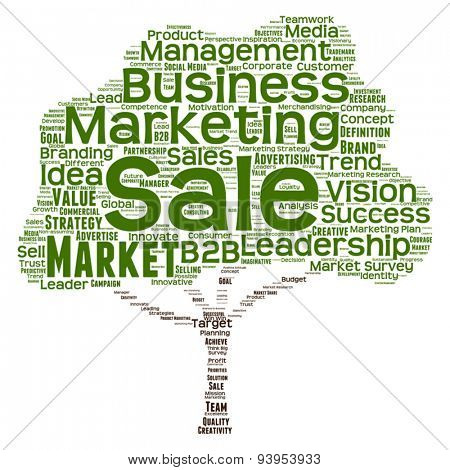 Vector concept or conceptual green tree leadership marketing or business word clod