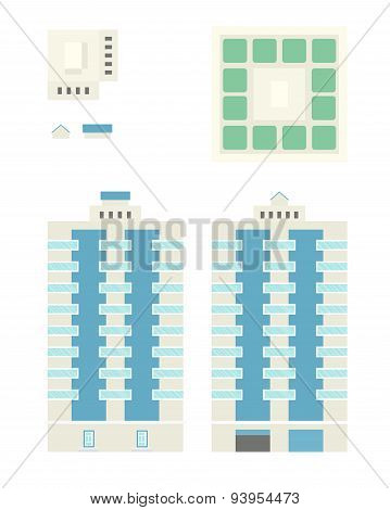 High-rise Building - Template For Creation Axonometric Projections