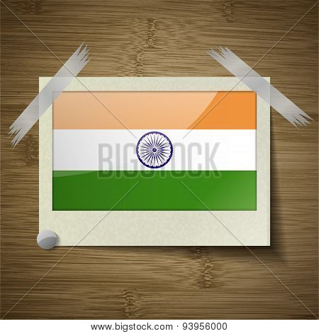Flags India At Frame On Wooden Texture. Vector
