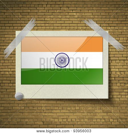 Flags India At Frame On A Brick Background. Vector