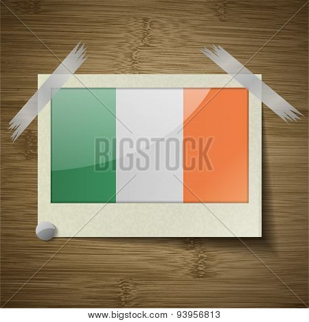 Flags Ireland At Frame On Wooden Texture. Vector