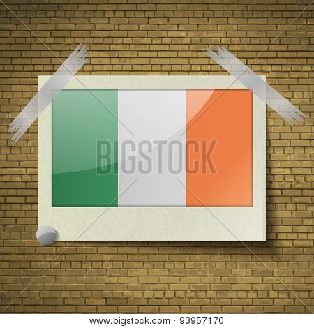 Flags Ireland At Frame On A Brick Background. Vector