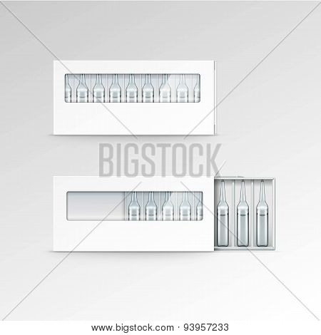 Vector Blank Packaging Box for Ampoules Isolated