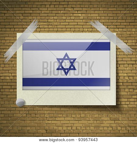 Flags Israel At Frame On A Brick Background. Vector