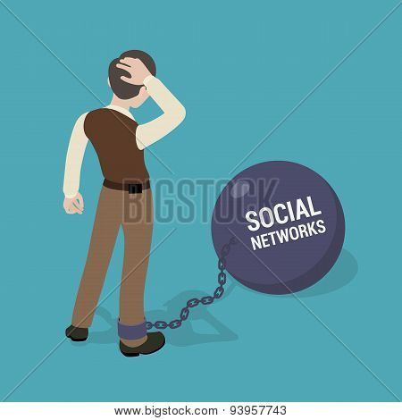 Man chained to a huge bowl with the inscription Social Networks