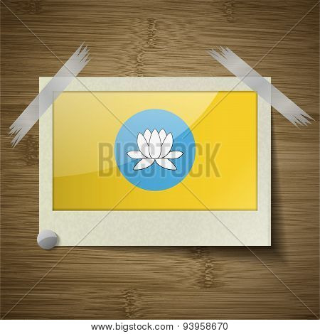Flags Kalmykia At Frame On Wooden Texture. Vector