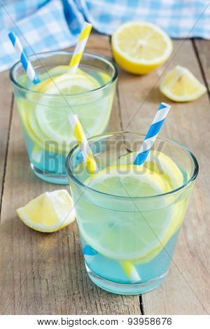 Blue Lemonade With Fresh Lemons