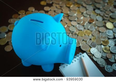 Piggy Bank With Money Coin In Background